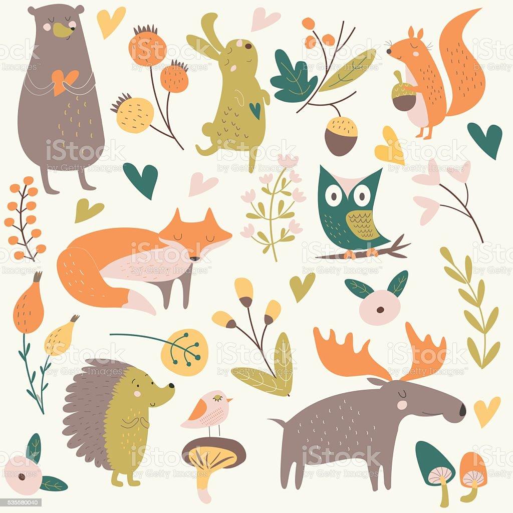 orangenewforesthedgehog vector art illustration