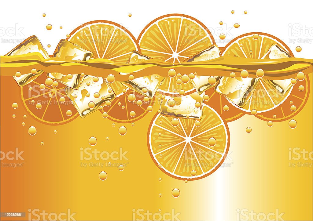 Oranges Slices and Ice Cubes vector art illustration
