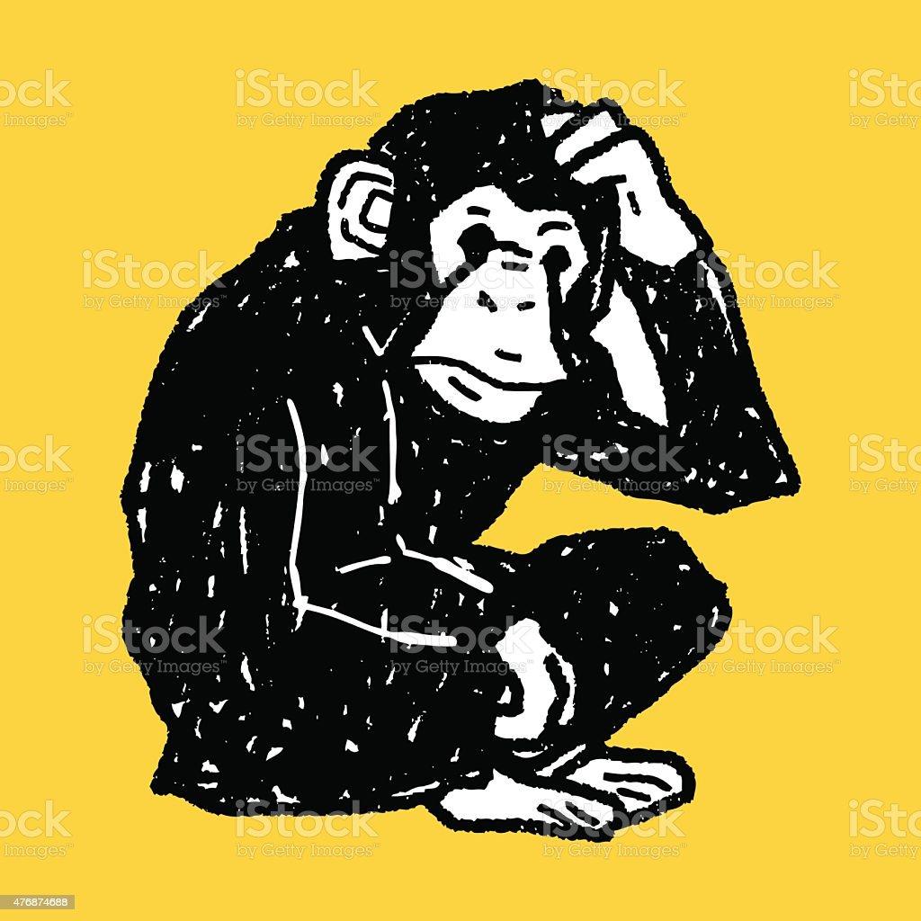 orangutan monkey doodle vector art illustration