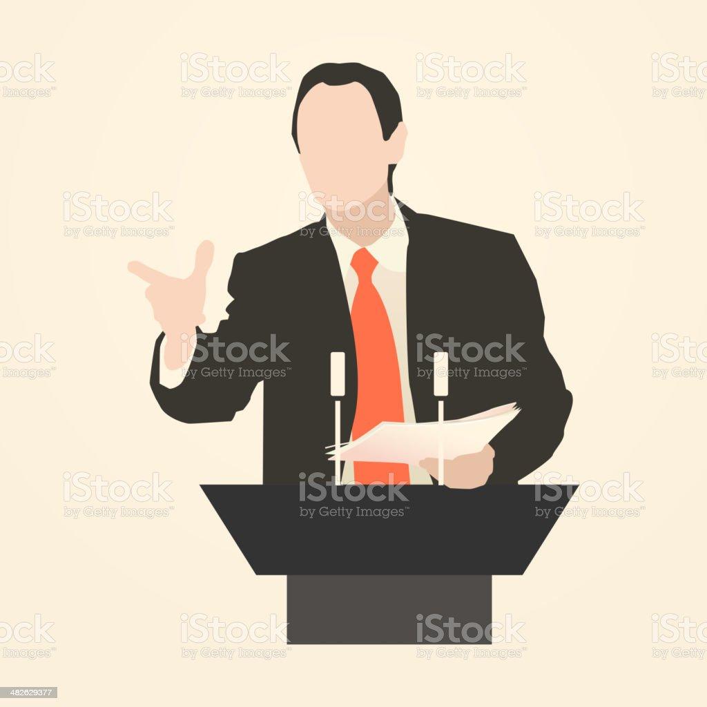 Orator speaking from tribune vector art illustration