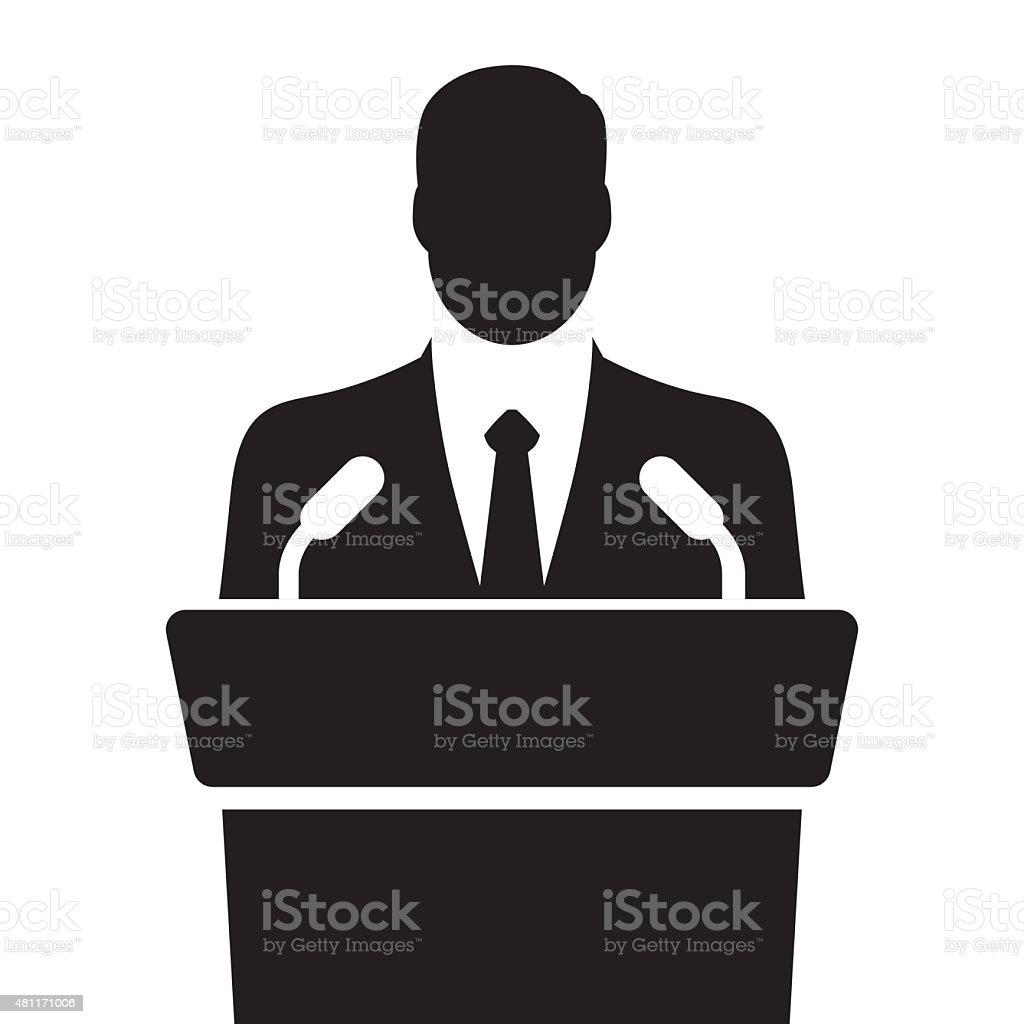 orator speaking from tribune vector illustration vector art illustration