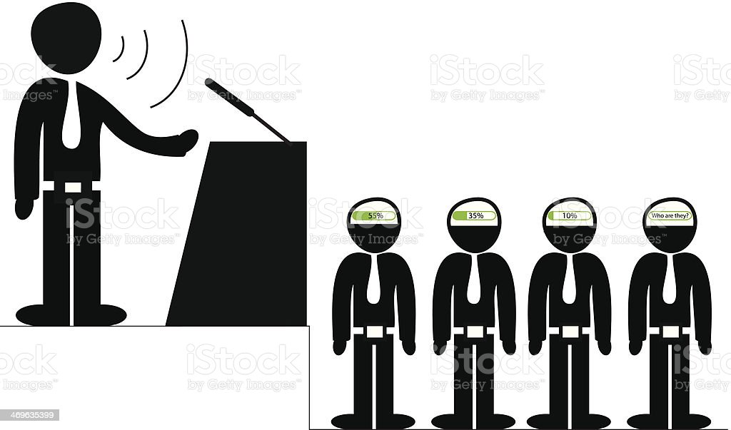 Orator speaking to the audience vector art illustration
