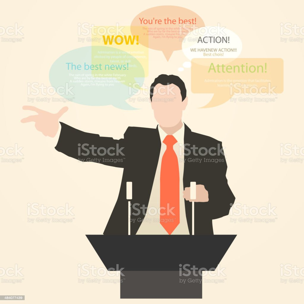 Orator stands behind a podium with microphones royalty-free stock vector art