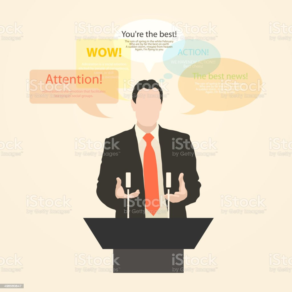 Orator stands behind a podium with microphones vector art illustration