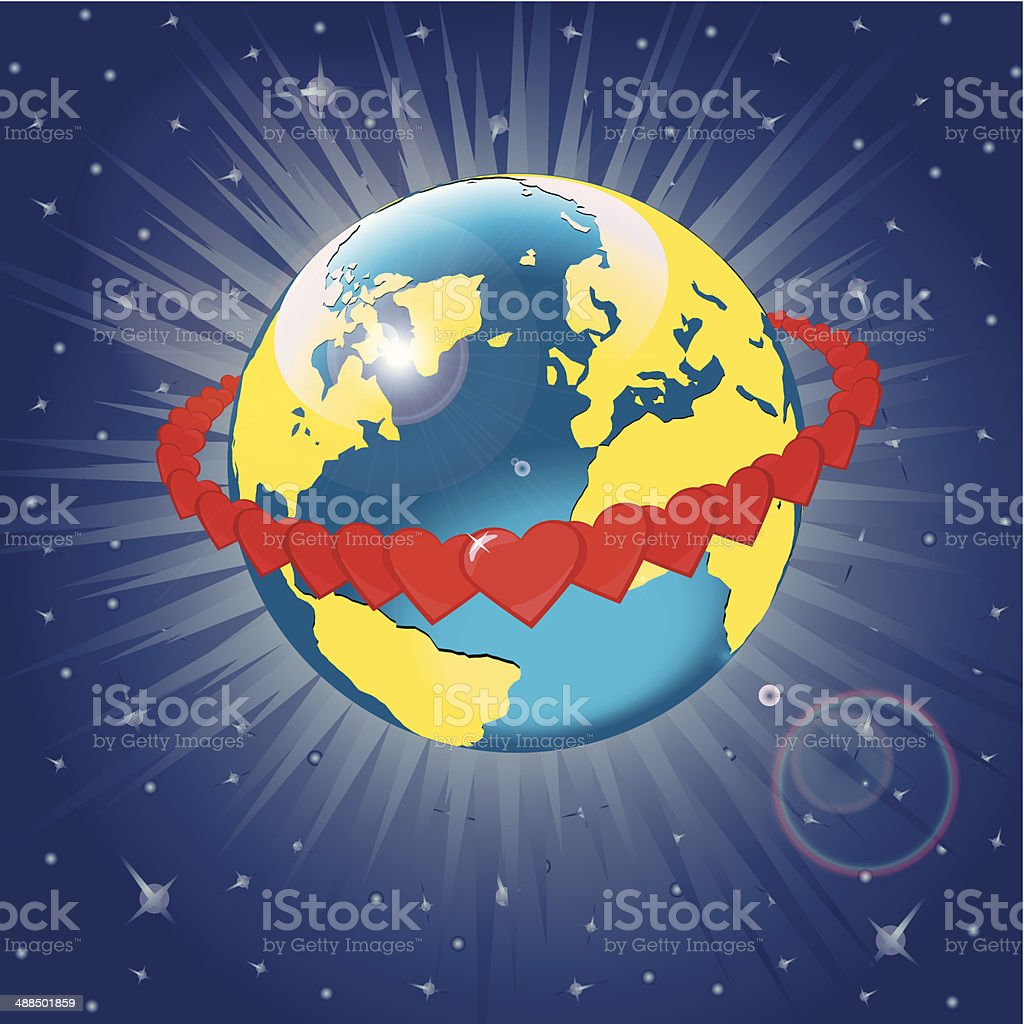Orbit of hearts around of planet Earth.Illustration vector art illustration