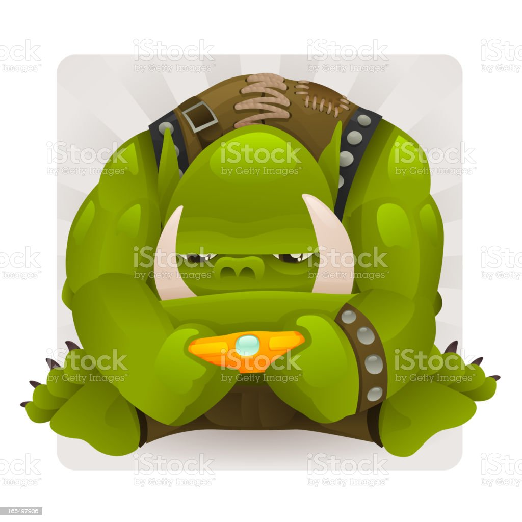 Orc playing a Video Game royalty-free stock vector art
