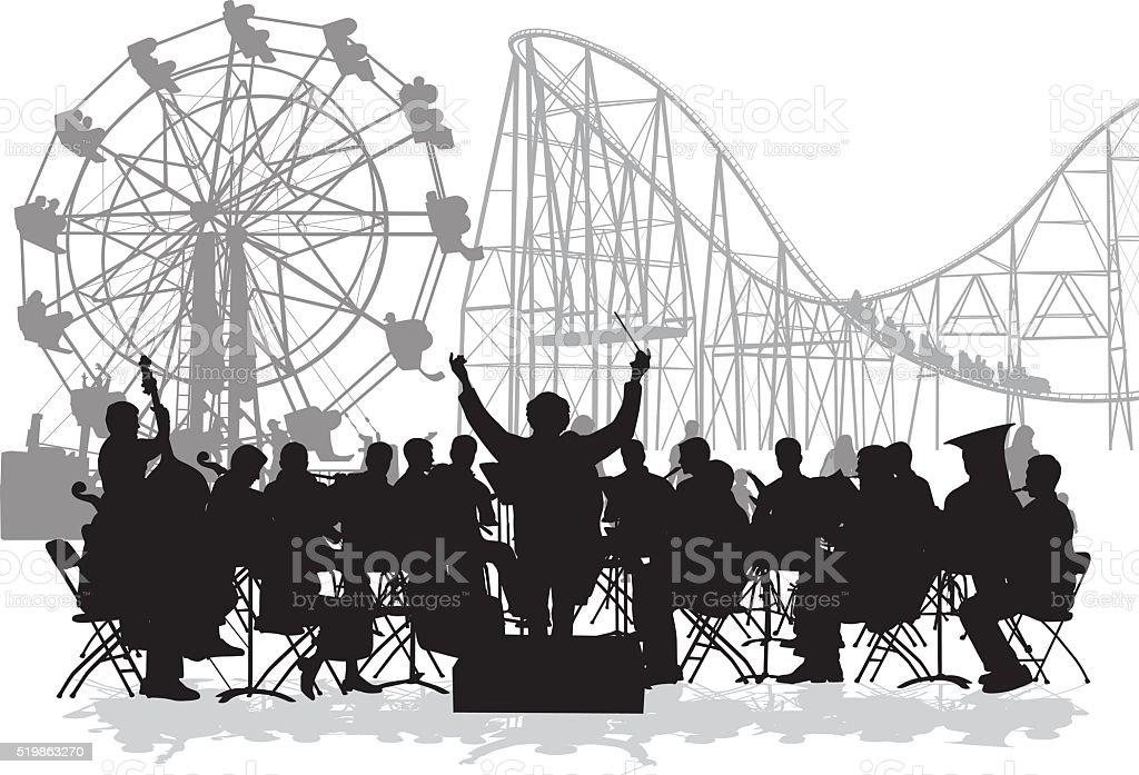 Orchestra At The Fair vector art illustration