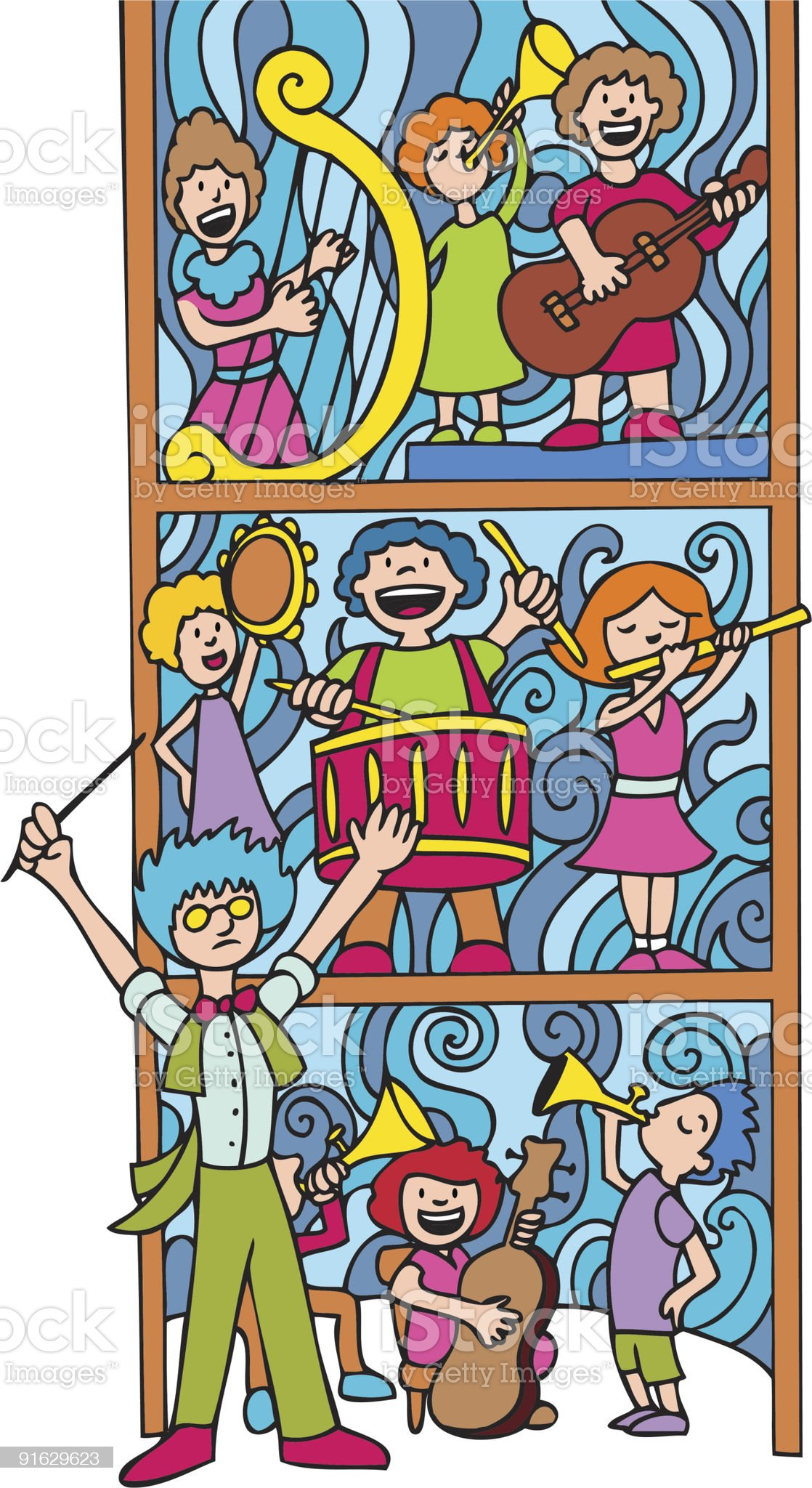Orchestra Leader Vertical Composition royalty-free stock vector art