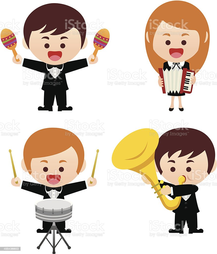 orchestra team with accordion, drum, Tuba, Maracas royalty-free stock vector art