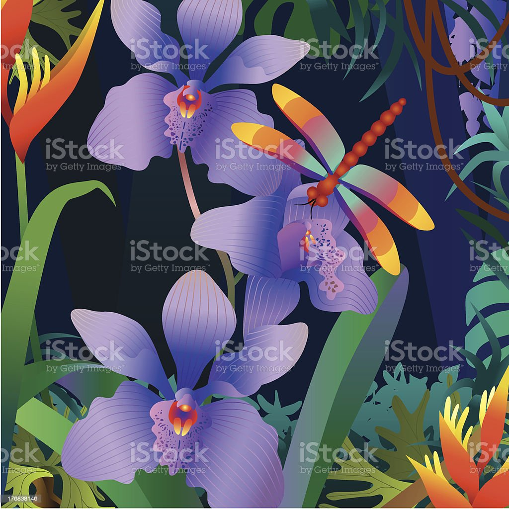 orchid and dragonfly royalty-free stock vector art
