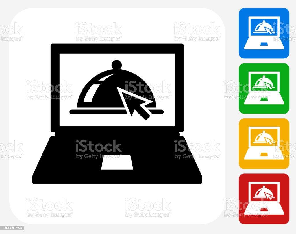Order Food Online Icon Flat Graphic Design vector art illustration