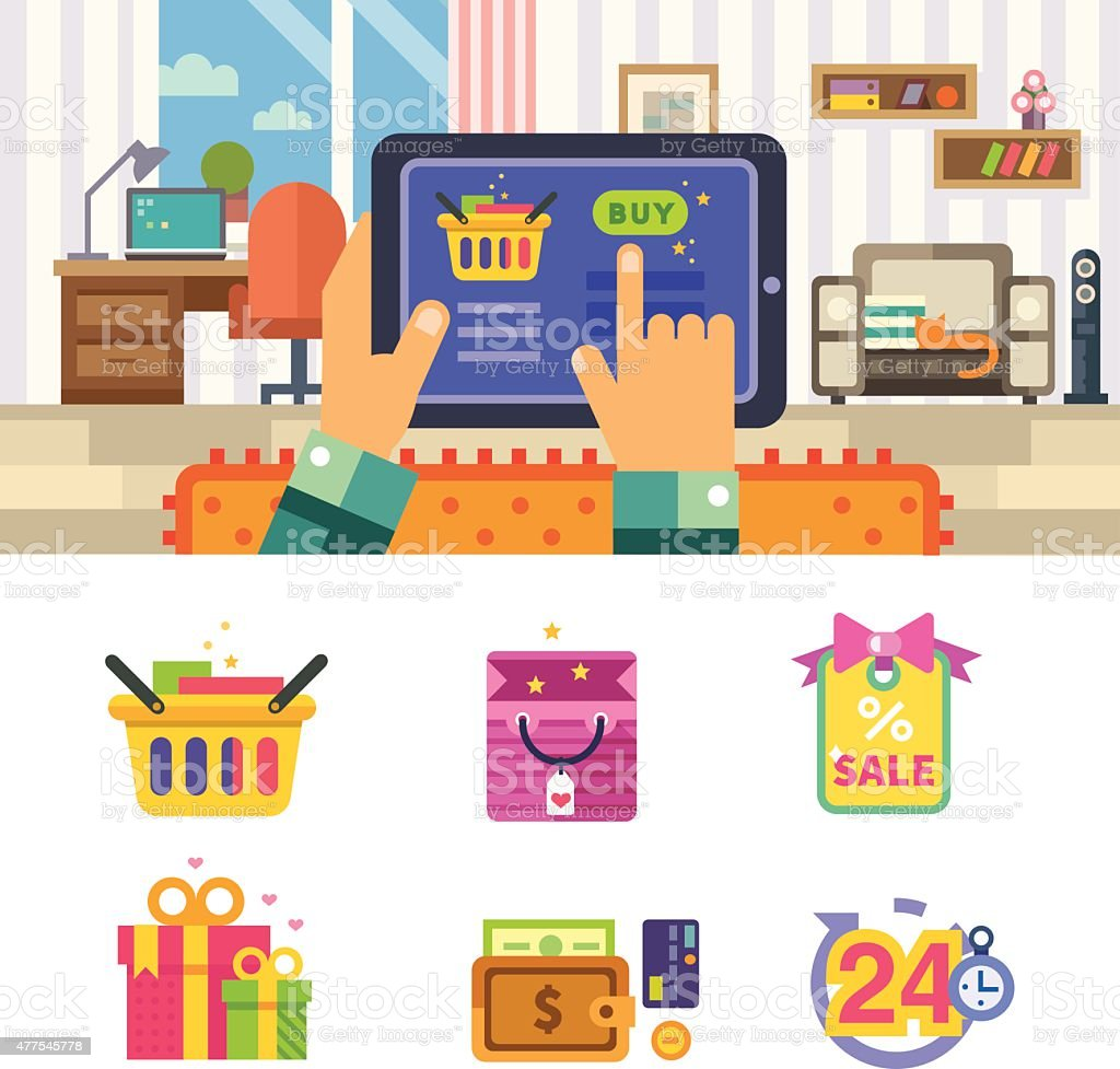 Order the online store up to the house vector art illustration