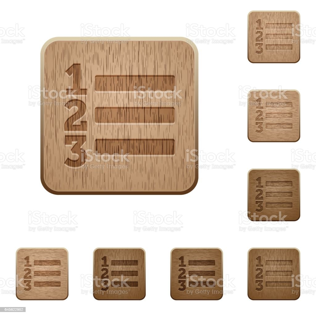 Ordered list wooden buttons vector art illustration