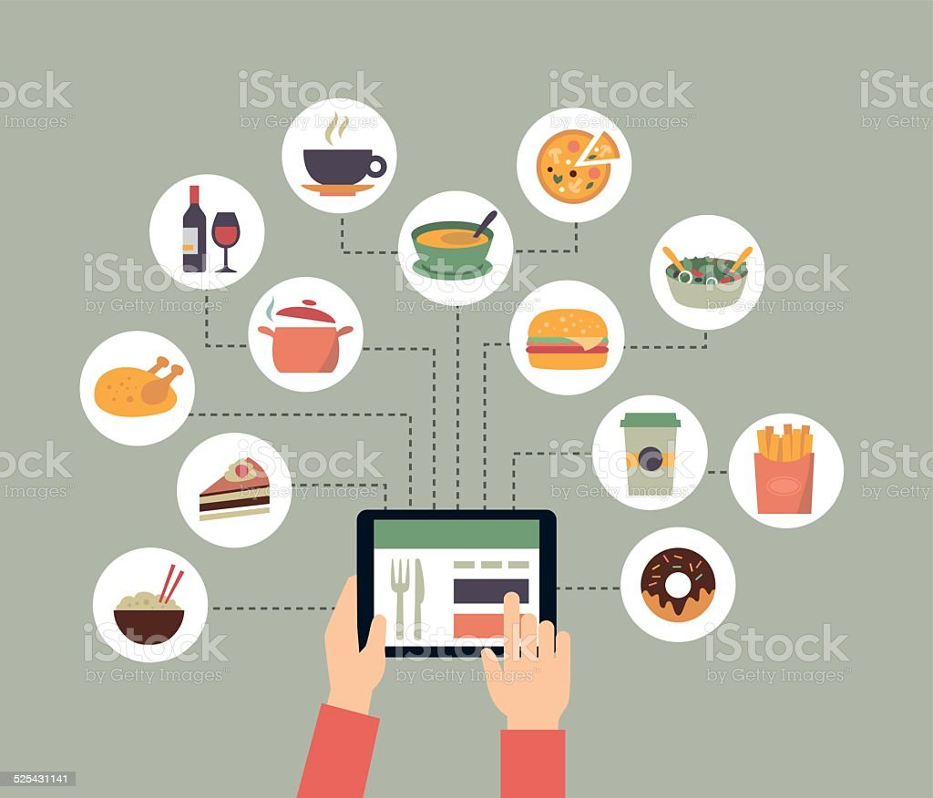 Ordering Food Online vector art illustration