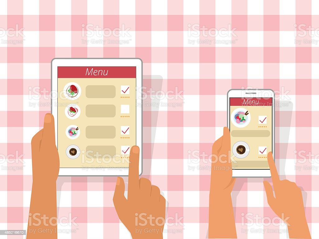 Ordering food using gadgets vector art illustration