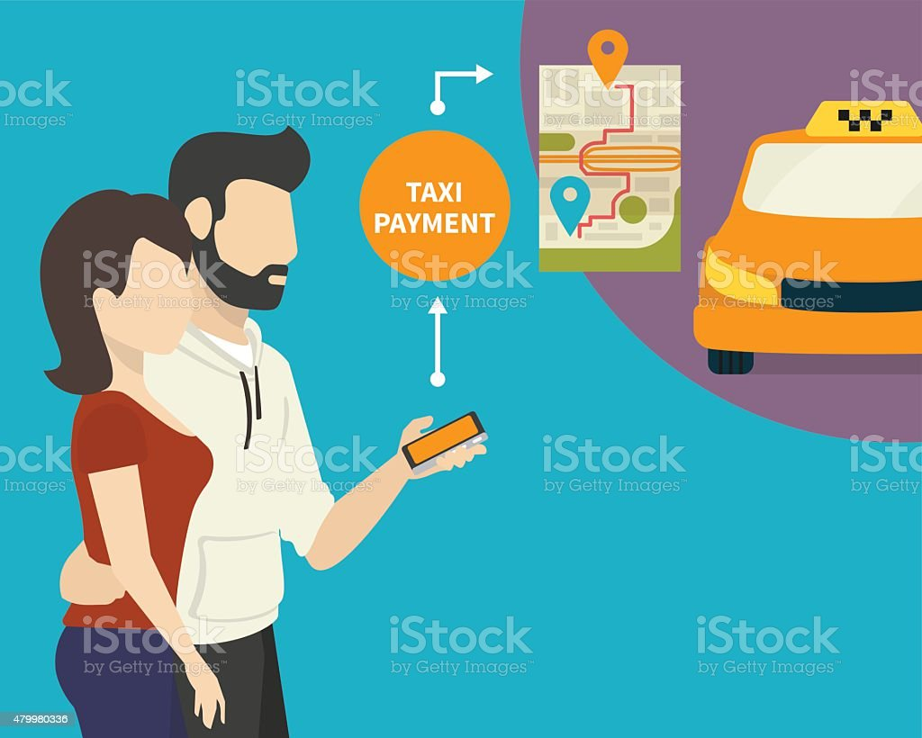 Ordering taxi vector art illustration