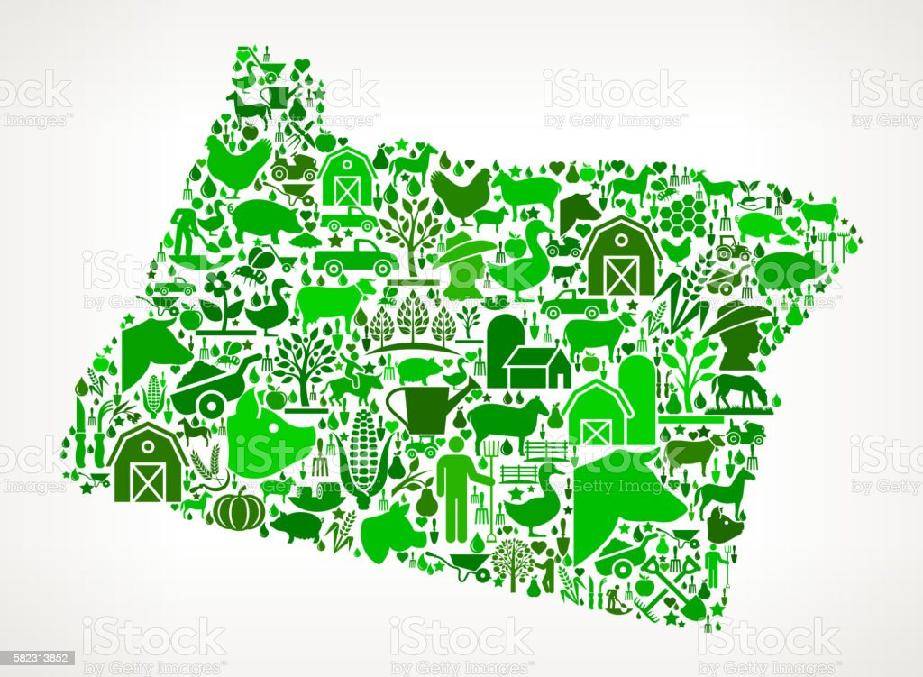 Oregon Farming And Agriculture Green Icon Pattern Vektor