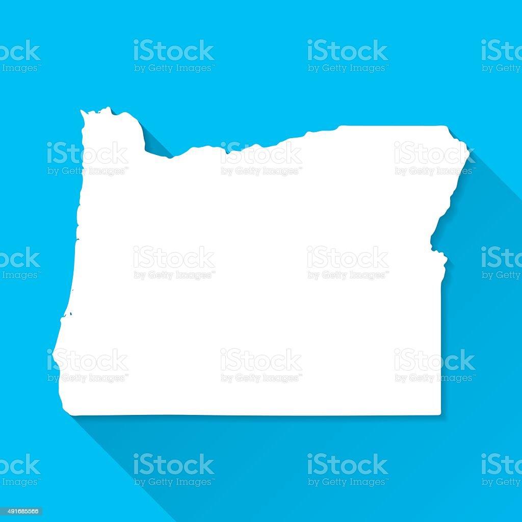 Oregon Map on Blue Background, Long Shadow, Flat Design vector art illustration
