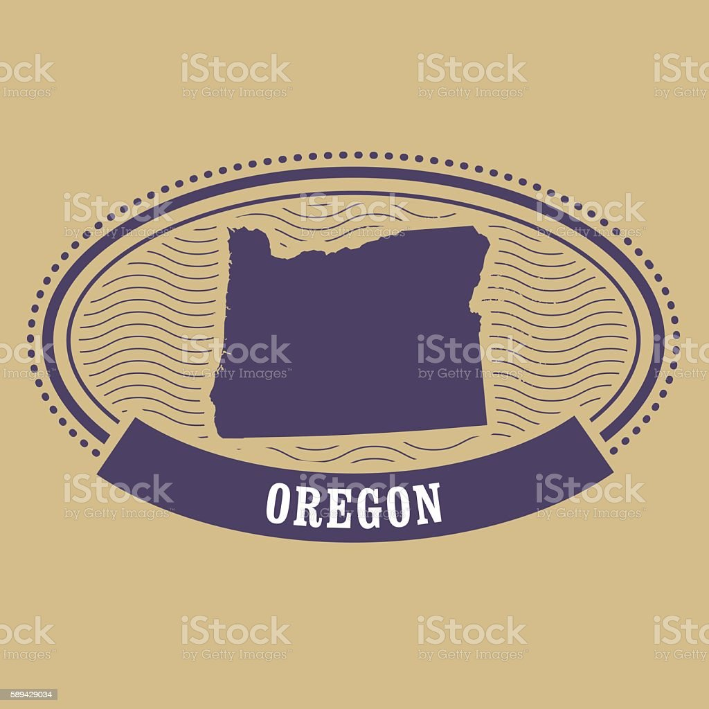 Oregon map silhouette - oval stamp vector art illustration