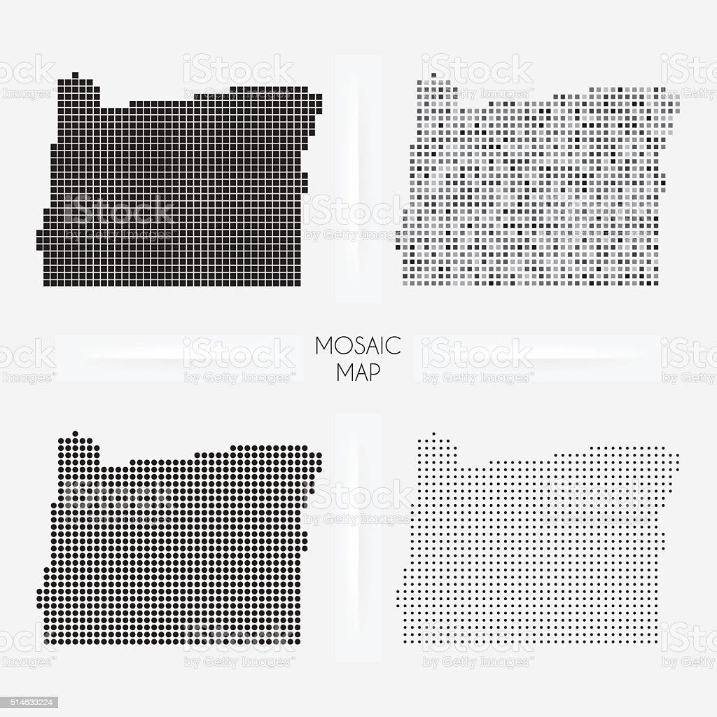 Oregon maps - Mosaic squarred and dotted vector art illustration