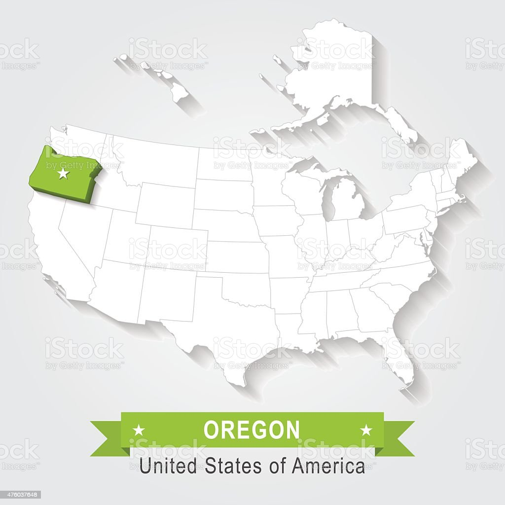 Oregon State. USA administrative map. vector art illustration