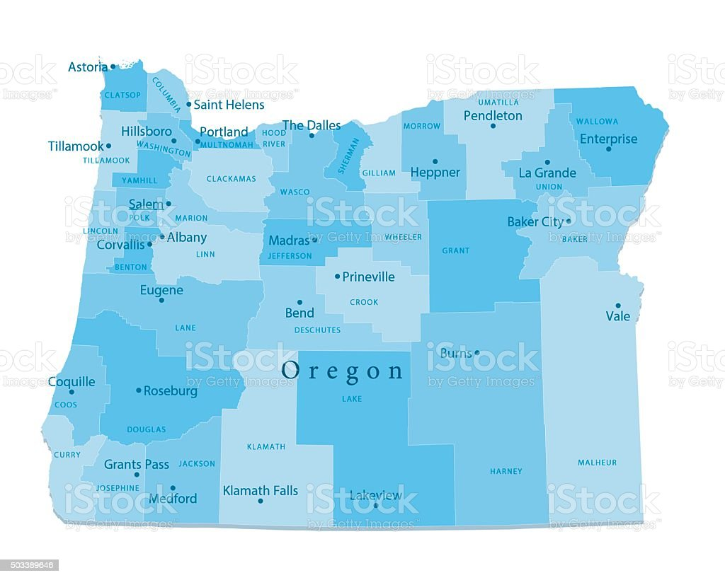 Oregon Vector Map Isolated vector art illustration