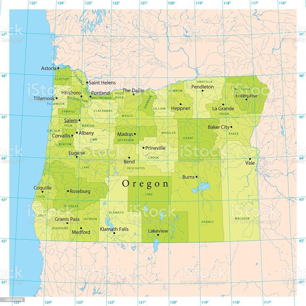 Oregon Vector Map vector art illustration