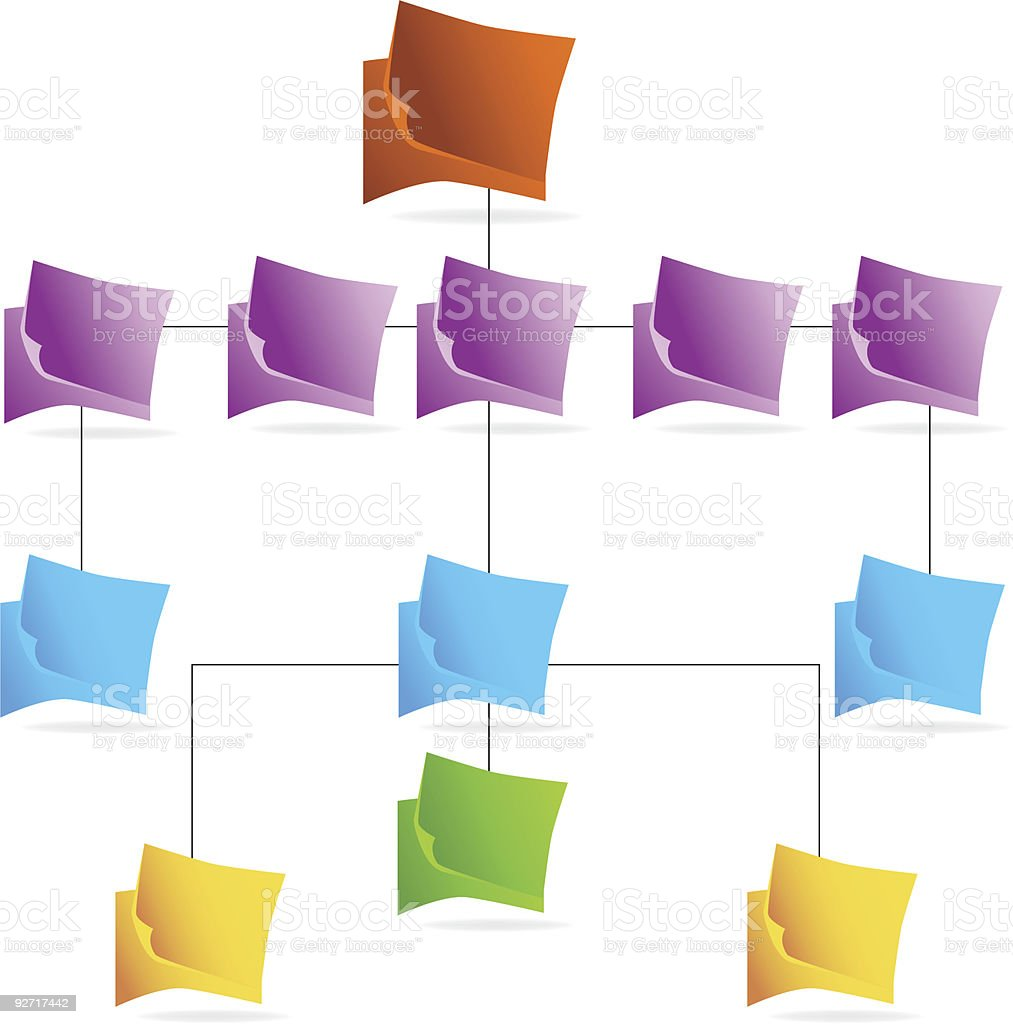 Org Chart: Floating Icons vector art illustration