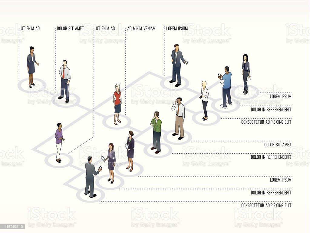 Org Chart Slide Template vector art illustration