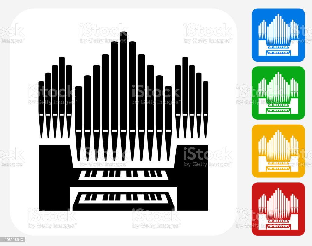 Organ Icon Flat Graphic Design vector art illustration