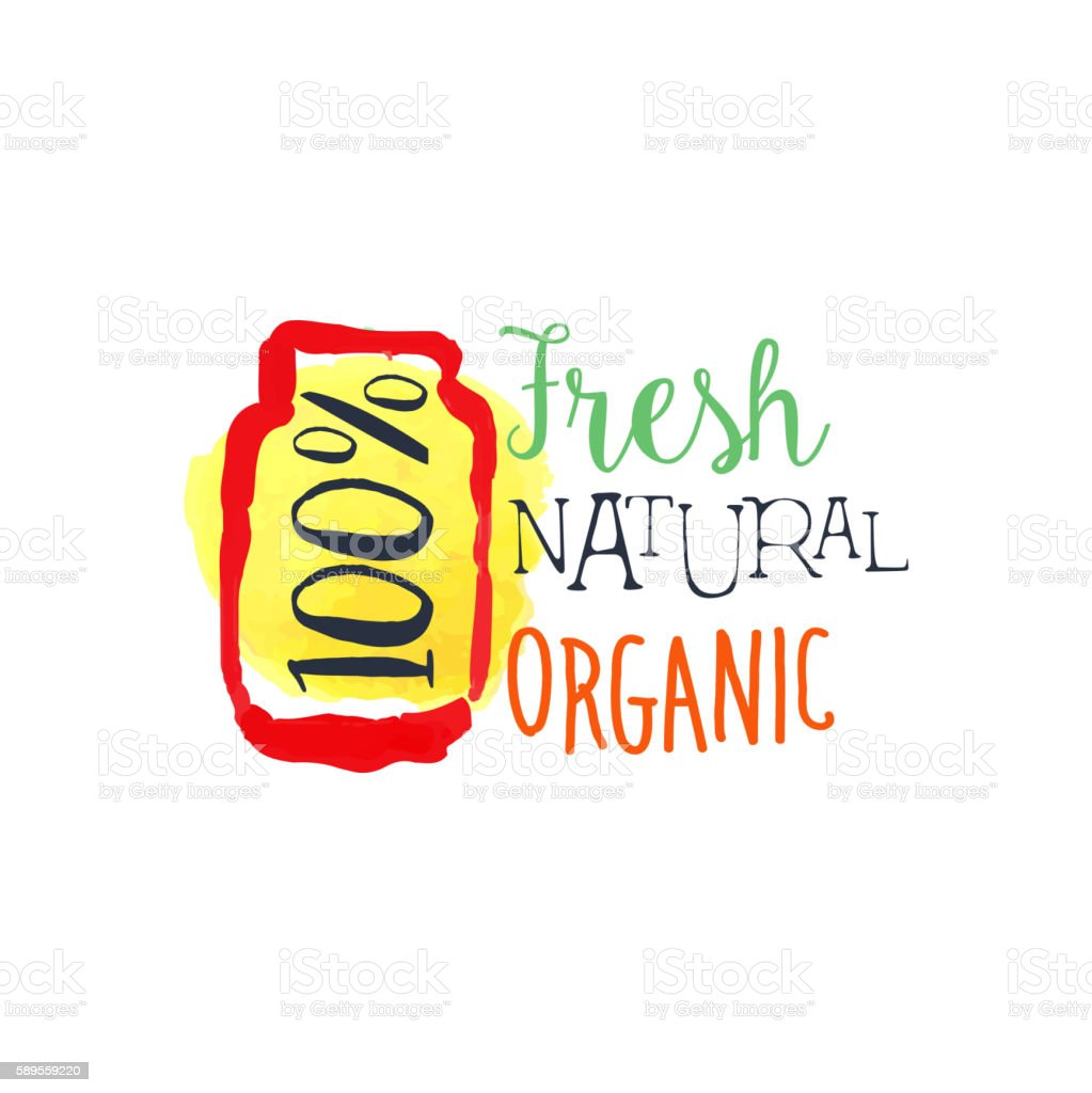 Organic 100 Percent Fresh Juice Promo Sign vector art illustration