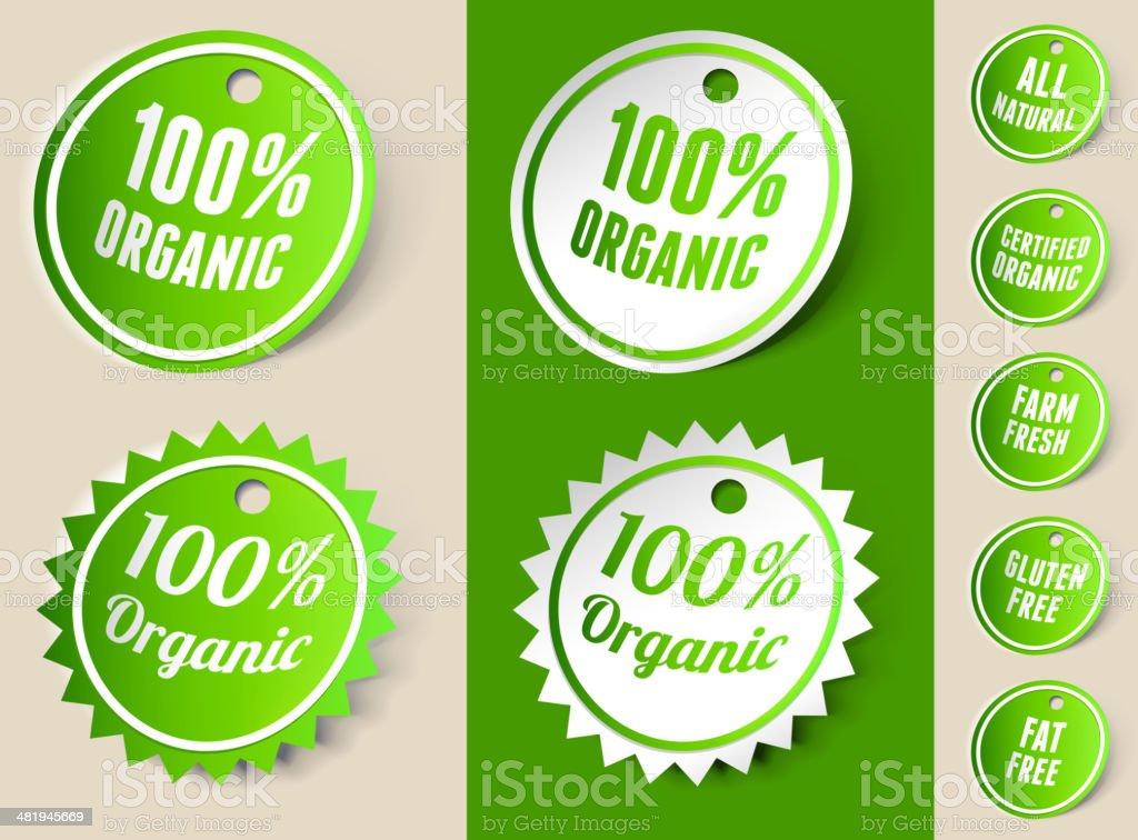 Organic 100% Ribbon Tag royalty-free stock vector art