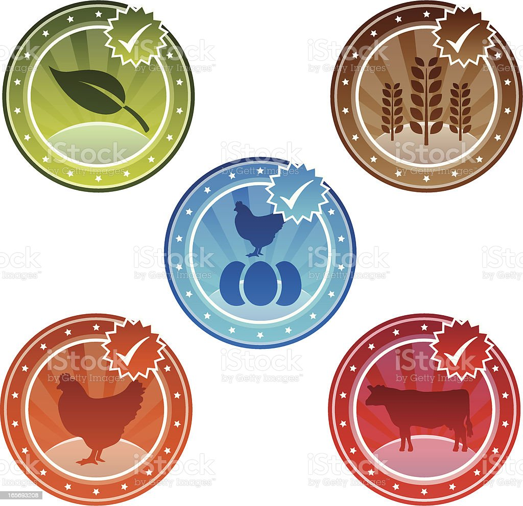 Organic And Free Range Icons royalty-free stock vector art