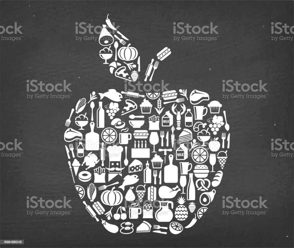 Organic Apple Food & Drink royalty free vector icon pattern. This...