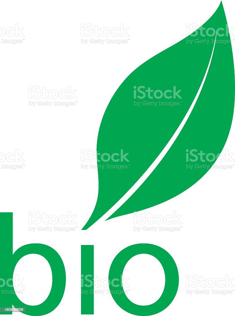 Organic bio green leaf logo design vector art illustration