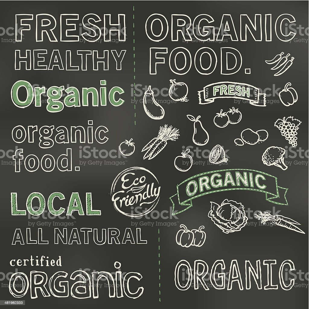 Organic blackboard vector art illustration