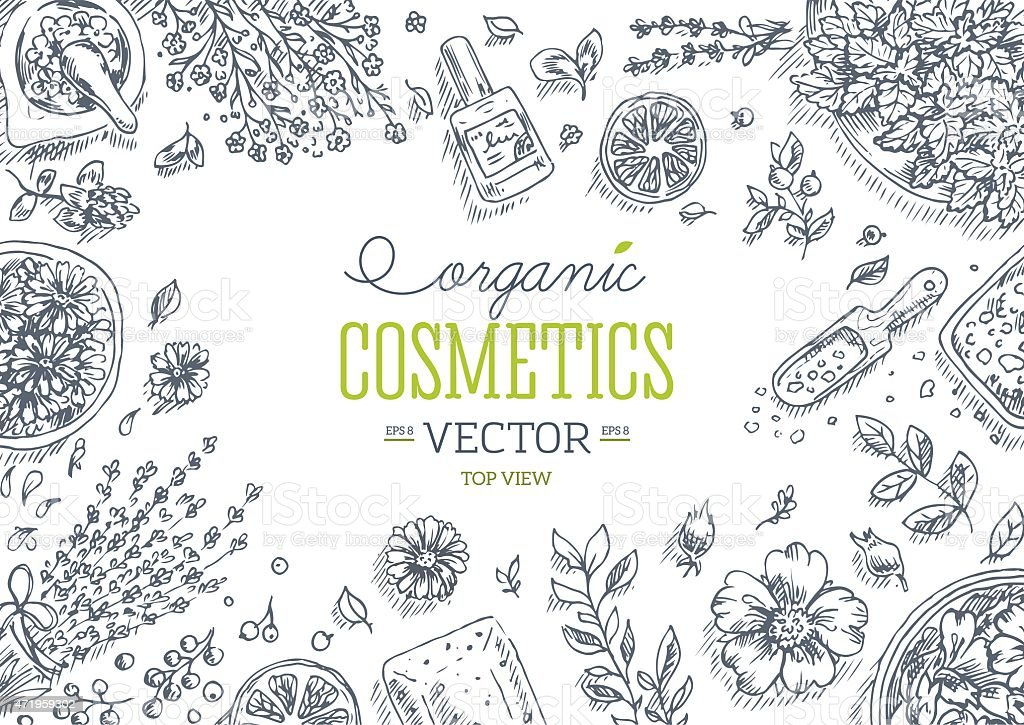 Organic Cosmetics top view frame. Natural cosmetics background. Vector illustration vector art illustration