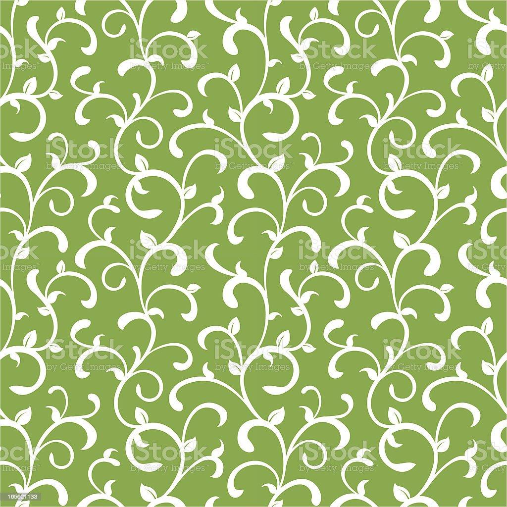 Organic Curly Seamless Vine Pattern vector art illustration