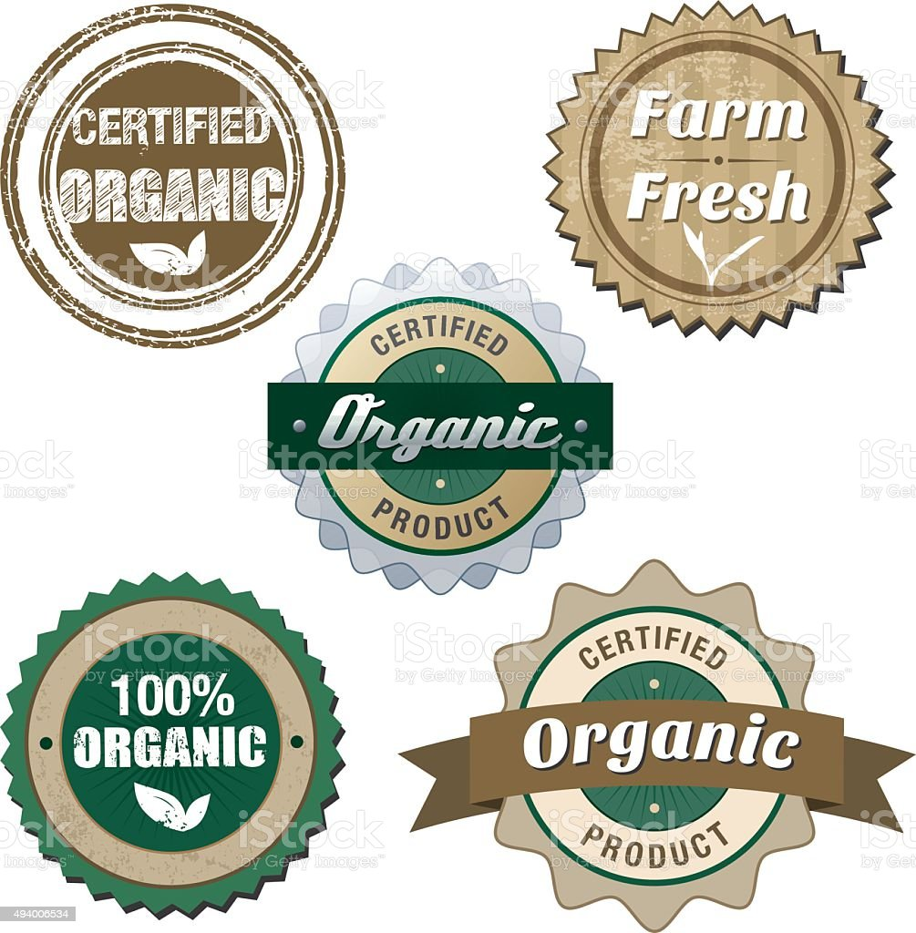 Organic eco badges set vector art illustration