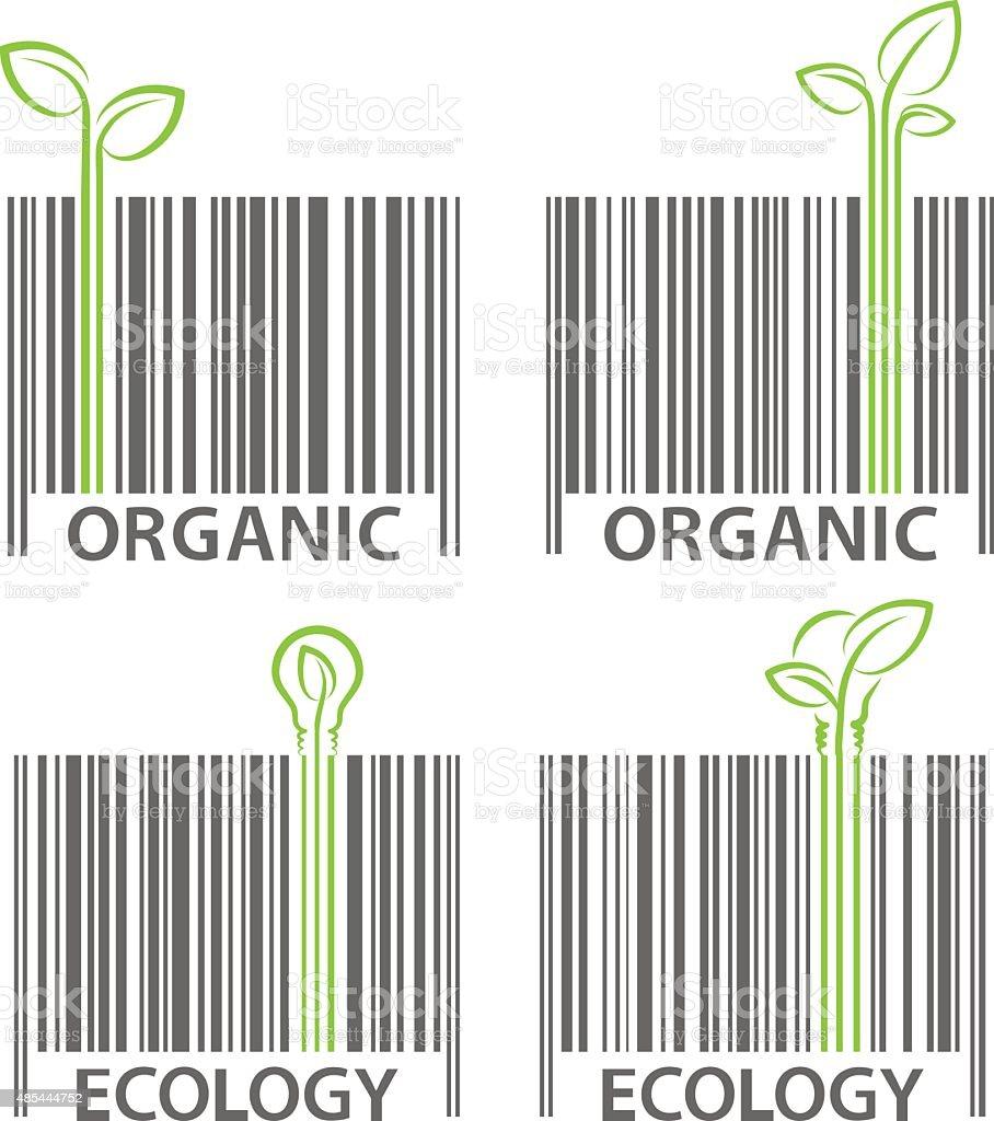 Organic ecologia símbolo conjunto de vetor de código de barras vetor e ilustração royalty-free royalty-free