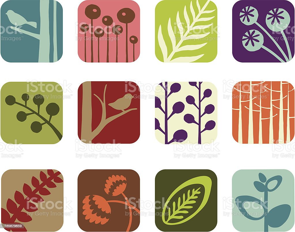 Organic Element Icons royalty-free stock vector art