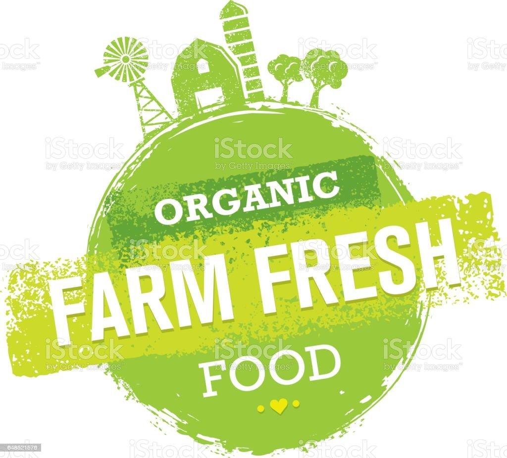 Organic Farm Fresh Healthy Food Eco Green Vector Concept on Paper Background. vector art illustration