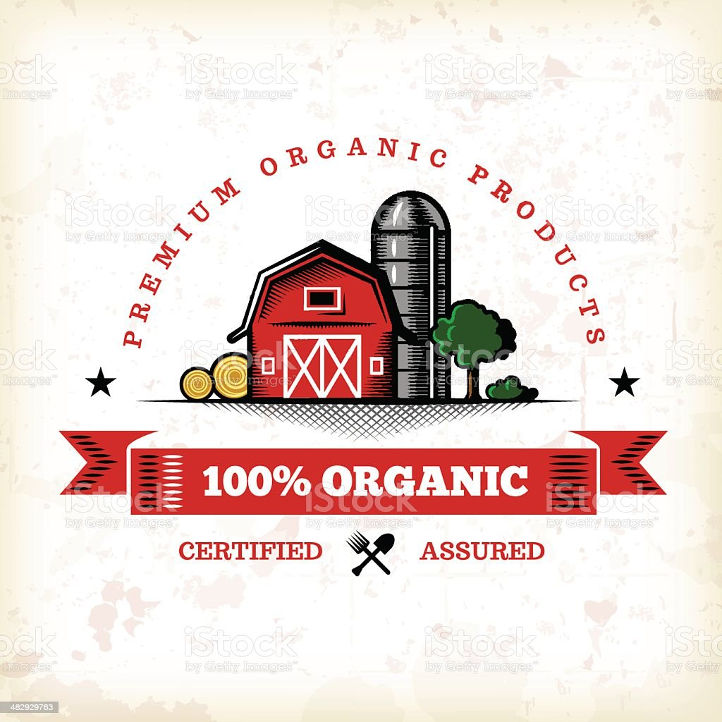 Organic Farm Fresh Label 7 vector art illustration