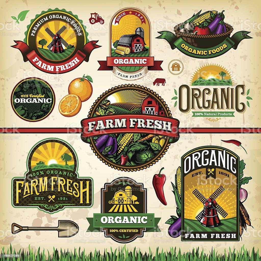 Organic Farm Fresh Label Set 2 vector art illustration