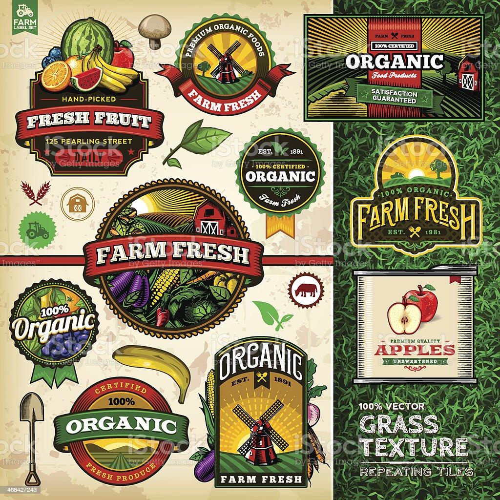 Organic Farm Fresh Label Set 4 vector art illustration