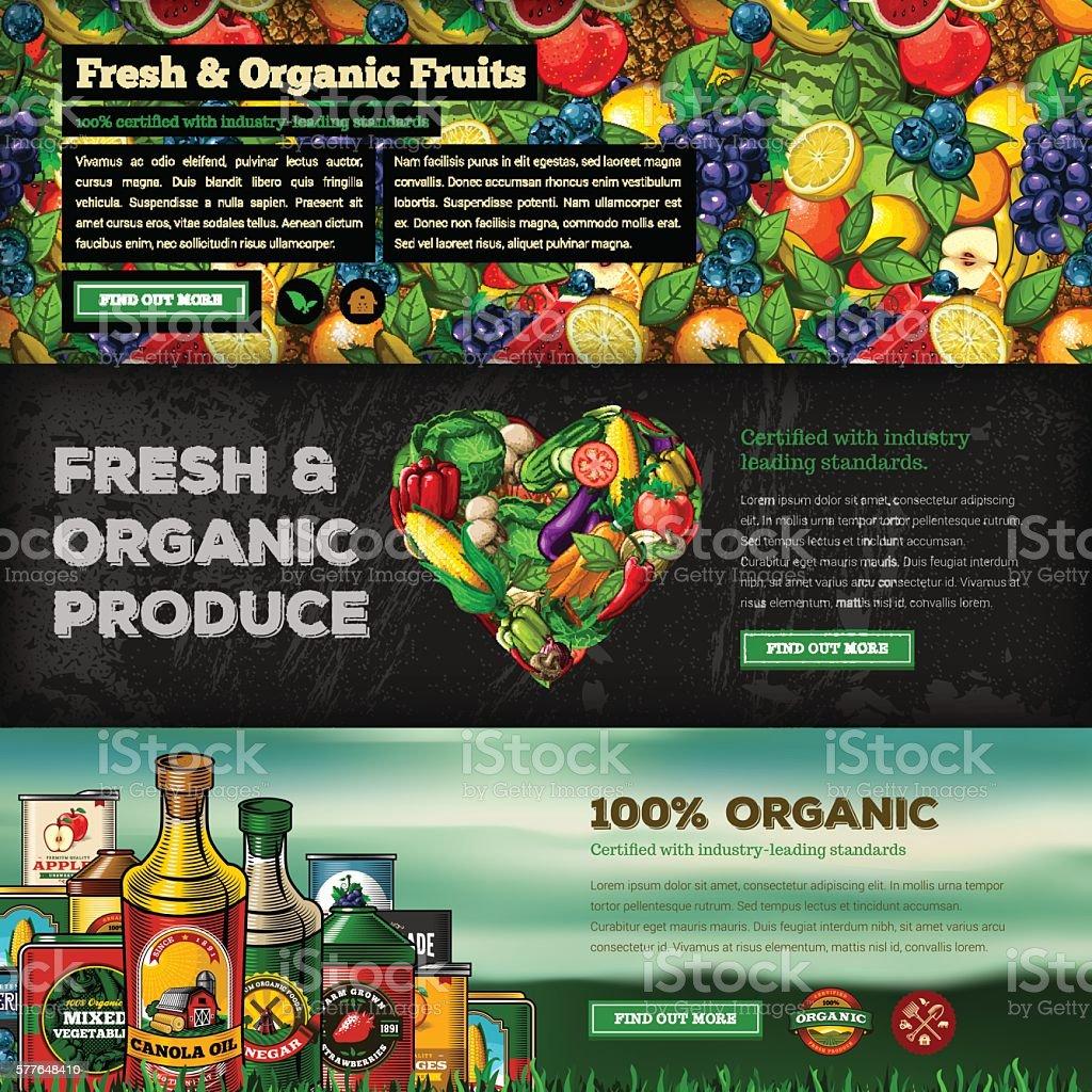 Organic Farm Fresh Web Banner Set vector art illustration