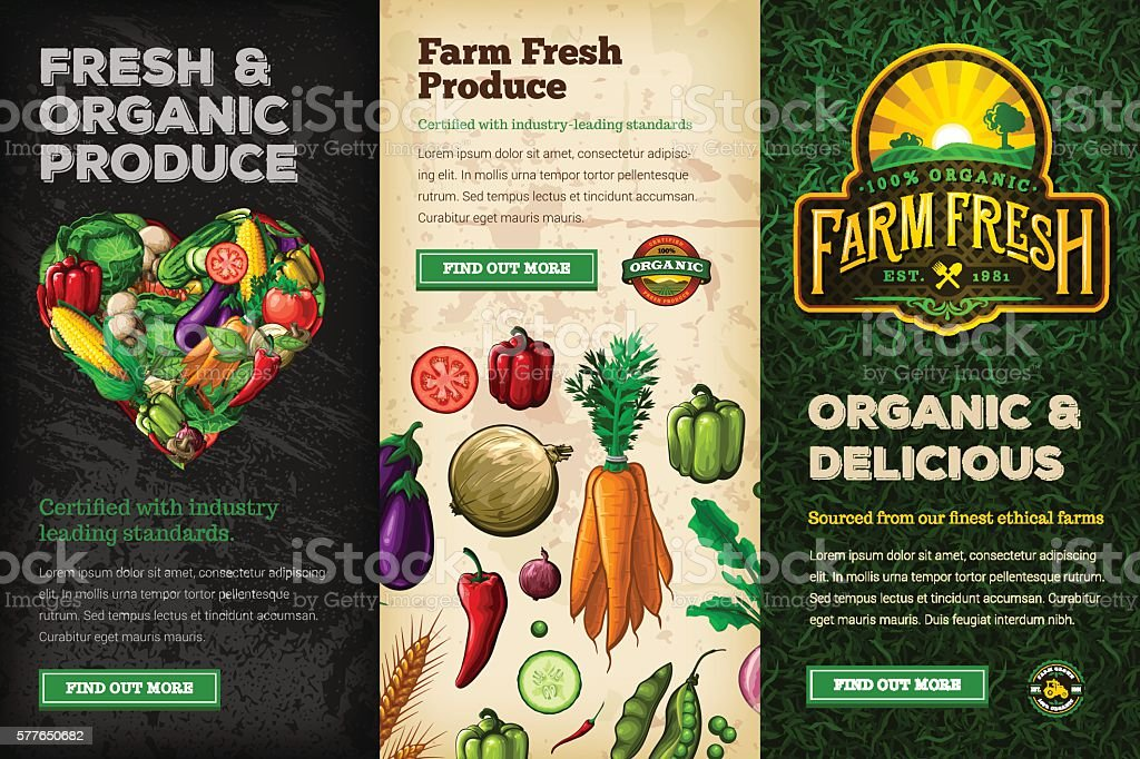 Organic Farm Fresh Web Banner Set vector art illustration