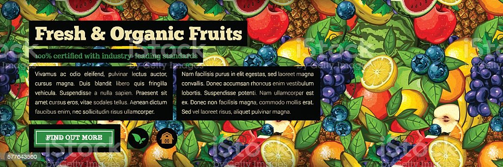 Organic Farm Fresh Web Banner vector art illustration