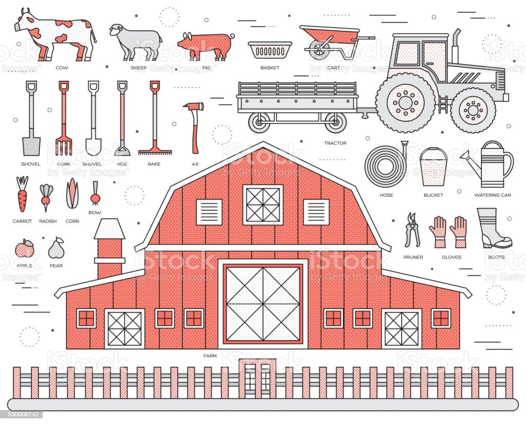 Organic farm in village set and tile in thin lines vector art illustration