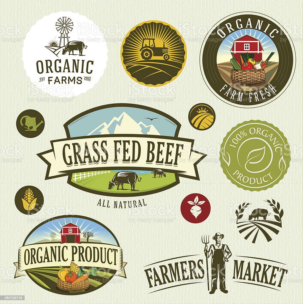 organic & farm vector art illustration